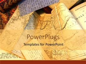 PowerPlugs: PowerPoint template with old tan maps of the world for travelers planning routes longitude and latitude