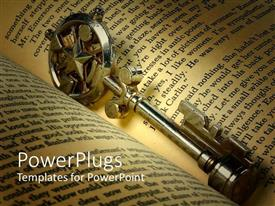 PowerPlugs: PowerPoint template with old treasure key placed in the middle of open book