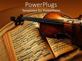 PowerPlugs: PowerPoint template with old violin laying on brown music book showing musical notes