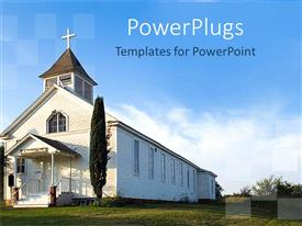 PowerPlugs: PowerPoint template with old white country church with green field