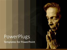PowerPlugs: PowerPoint template with old woman saying her prayers with bars of gradient brown color