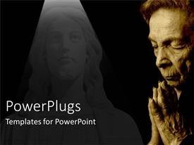 PowerPlugs: PowerPoint template with old woman saying prayers with stone sculpture of Jesus in background