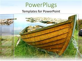 PowerPlugs: PowerPoint template with old wood boat on grass, water rock harbor background