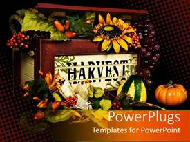 PowerPoint template displaying old wooden box with harvest word on it, filled with fruits, sunflowers, pumpkins, grapes