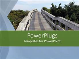 PowerPlugs: PowerPoint template with old wooden bridge in a park with many trees