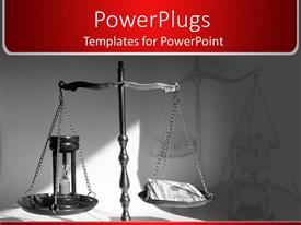 PowerPlugs: PowerPoint template with old wooden scale with wooden hourglass on plate in dark background