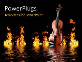 PowerPlugs: PowerPoint template with old wooden violin on water waves with flames