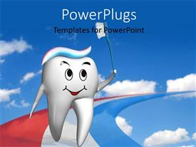 PowerPlugs: PowerPoint template with olympic tooth running on a multi color toothpaste track depicting dental care