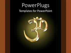 PowerPoint template displaying om symbol in gold on black background, Hinduism, Buddhism, meditation