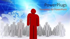 PowerPlugs: PowerPoint template with a leader in front of the other ones with map in the background