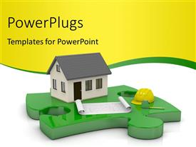 PowerPlugs: PowerPoint template with one beautiful house and a blueprint on a puzzle piece with nice curve