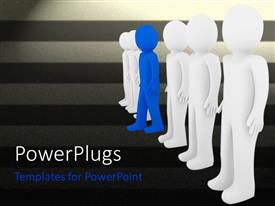 Amazing presentation design consisting of one blue figure stepping away from row of white figures