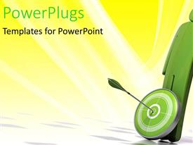 PowerPlugs: PowerPoint template with a figure with a dart board and an arrow hitting the middle of the drt board