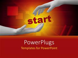 PowerPlugs: PowerPoint template with one hand trying to hold the other one with orange background