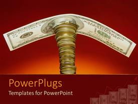 PowerPlugs: PowerPoint template with one hundred dollar bill on top of a stack of coins, savings, retirement, wealth management, finance