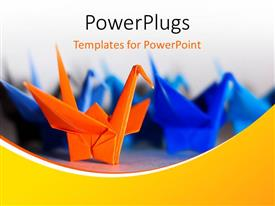 PowerPoint template displaying one orange origami bird in front of group of blue paper birds