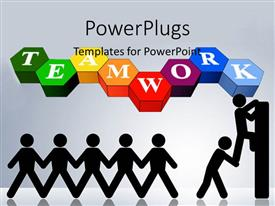 PowerPlugs: PowerPoint template with one stick figure helping another climb wall below Team Work
