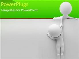 PowerPlugs: PowerPoint template with one white figure helping pull second up a wall