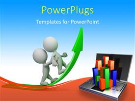 PowerPlugs: PowerPoint template with one white figure helping second climb upward green arrow above open laptop with business charts
