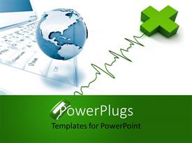 PowerPlugs: PowerPoint template with online medical services concept with medical symbol and mouse in foreground, globe and laptop