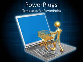 PowerPlugs: PowerPoint template with online shopping e-commerce with laptop, gold man, shopping cart