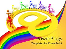 PowerPoint template displaying online shopping metaphor with rainbow people pushing shopping carts on @ symbol, e commerce