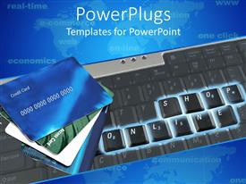 PowerPoint template displaying online shopping motif with shop online keyboards and credit cards, e commerce