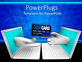 PowerPlugs: PowerPoint template with online shopping theme with two white laptops facing each other and hand coming from screen one hand handing credit card to other hand