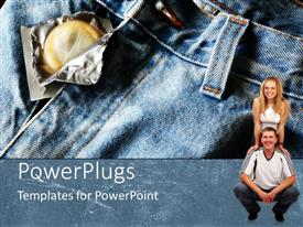 PowerPlugs: PowerPoint template with open bag of condom on jeans couple man and woman