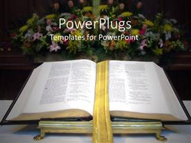 PowerPlugs: PowerPoint template with open Bible with golden bookmark on altar with large flower bouquet