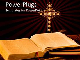 PowerPoint template displaying open Bible, journal, and antique cross