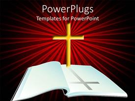 PowerPoint template displaying open Bible with yellow cross on light rays red and black background