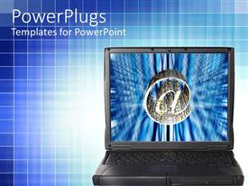 PowerPoint template displaying an open black laptop with a large silver @ symbol