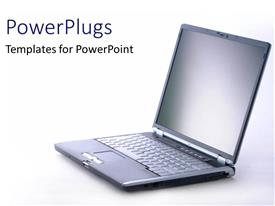 PowerPlugs: PowerPoint template with an open black laptop on a plain white surface