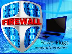 PowerPoint template displaying an open blue laptop with a shield and binary
