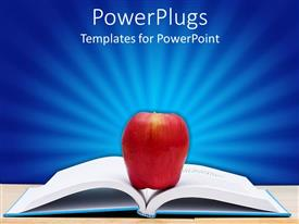 Education middle school powerpoint templates crystalgraphics powerplugs powerpoint template with an open book with an apple in the middle toneelgroepblik Gallery