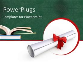 PowerPlugs: PowerPoint template with open book on book pile with rolled diploma and red ribbon