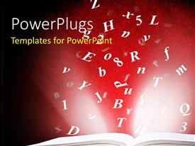 PowerPlugs: PowerPoint template with open book with flying alphabets over red background