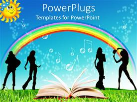 PowerPlugs: PowerPoint template with an open book in front of four people under a rainbow