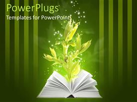 PowerPoint template displaying an open book with a green plant growing from it