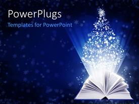 PowerPoint template displaying open book with pages fanned and white snowflakes in Christmas tree shape