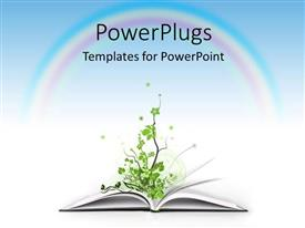 Elegant PPT theme enhanced with an open book with a plant, and a rainbow