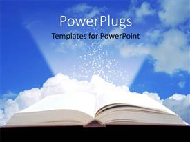 Presentation theme featuring open book projecting light with clouds in background
