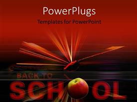 PowerPlugs: PowerPoint template with open book in red background with text back to school