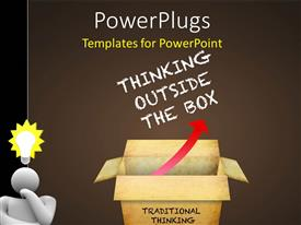 PowerPlugs: PowerPoint template with an open box with various words and brownish background