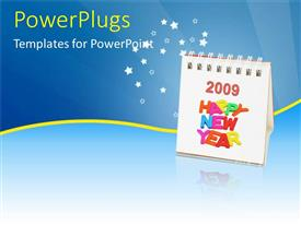 PowerPlugs: PowerPoint template with an open calendar with text that spell out 'happy new year'