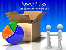 PowerPlugs: PowerPoint template with open cardboard box next to pie chart and two men shaking hands