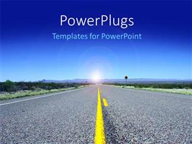 PowerPoint template displaying open desert road leading to future ahead