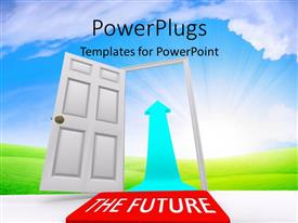 PowerPoint template displaying open door leading to THE FUTURE with bright light in cloudy sky