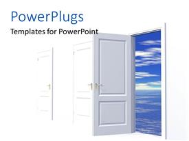 PowerPlugs: PowerPoint template with an open door with a number of closed ones